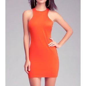 Bebe Orange Racerback Dress with Mesh Inserts